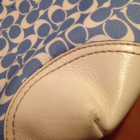 blue and white leather coach tote size os coach blue and white ...