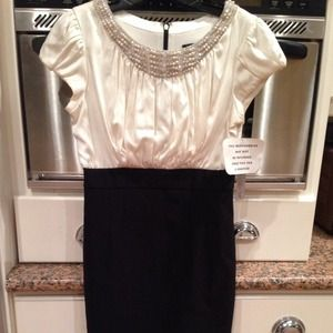 Maria Bianca Nero Beaded Satin Ivory  Dress. L NWT