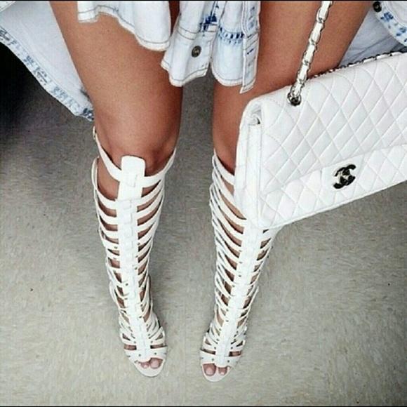 554a8763beb White Knee High Gladiator Heels Sandals