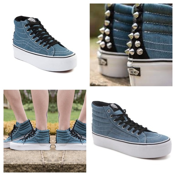 322829b597a7 Vans Shoes - Vans Denim Spiked Sk8-Hi Platform