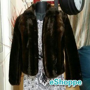Jackets & Blazers - Faux Fur Dark Brown  Short Jacket
