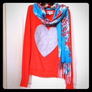 Wildfox glittering heart baggy pullover
