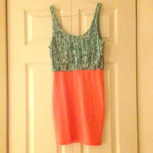 Lulu's turquoise & coral mini dress