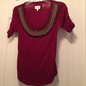 Anthropologie Deletta Brand Wine/Bronze Beaded Top