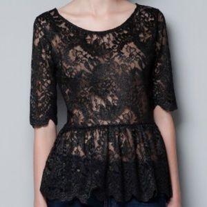 ZARA Lace Top Size Medium