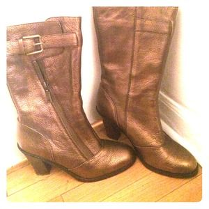 Boots - Bronze metallic leather tall boots