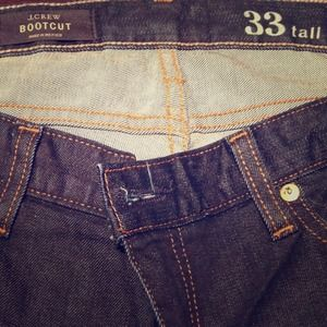 Size 33 (size 14) Tall, J. Crew dark wash jean