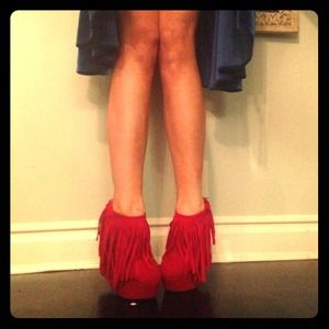 Shoes - RED FRINGE WEDGE BOOTS SIZE 9- 9.5🚨 flash sale!