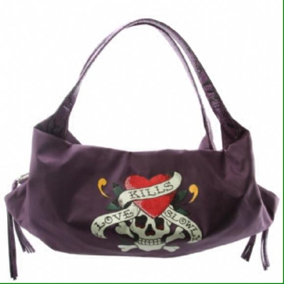 Purple Ed Hardy purse love kills e1bc3ad336b56