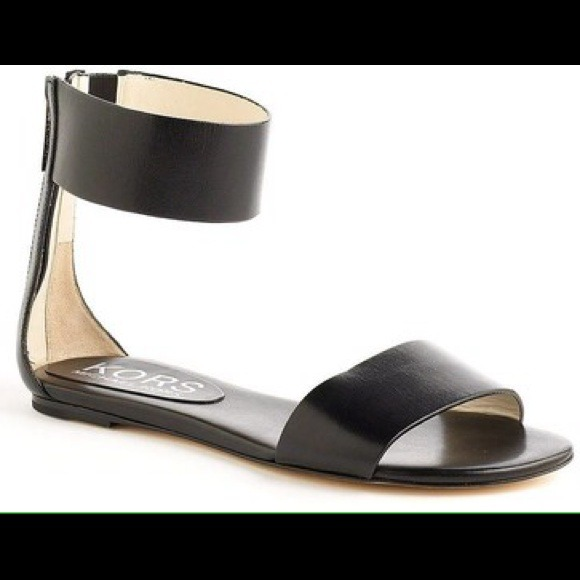 23f93e02242d MICHAEL KORS Ava Black Leather Ankle Strap Sandals