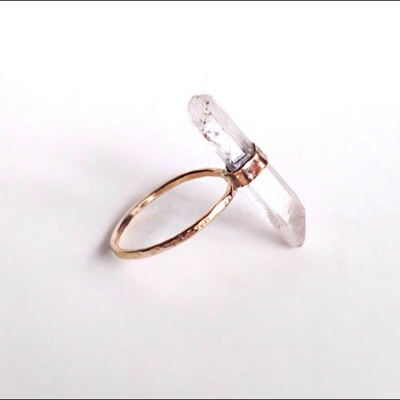Crystal Quartz Gold Ring - Handcrafted ring