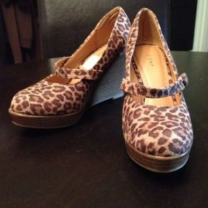 Shoes - Leopard faux-suede Mary-Jane wedges
