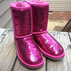 Ugg Shoes Tradedhot Pink Sequin Boots Poshmark