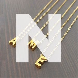"gnomesjoyclub Jewelry - Letter ""N"" Initial Charm on 24k Gold-Plated Chain"
