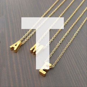 "gnomesjoyclub Jewelry - BUNDLED ""T"" Initial Charm on 24k Gold-Plated Chain"