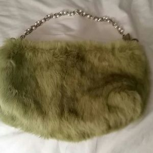 Handbags - Super cute olive green fur bag