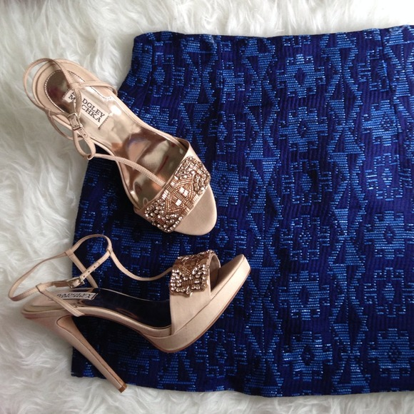 Zara Blue Tribal Jacquard Mini Skirt