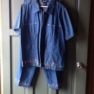 Embroidered Denim pants and jacket, Denim&Co