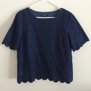 Madewell navy lace top size L