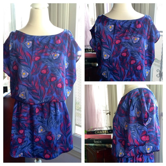 H&m Blue Feather-print Dress