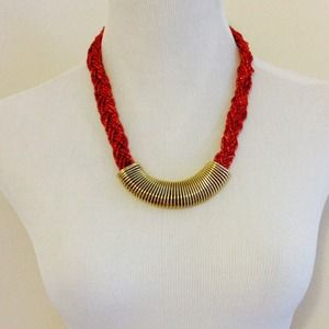 Gold & Beaded Braided Statement Necklace