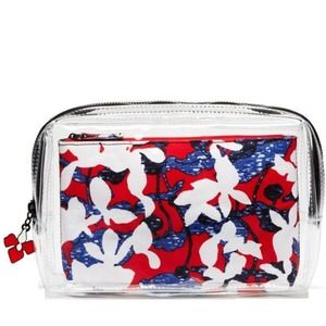 Peter Pilotto Clear & Red Floral Pouch Set