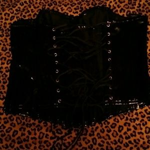 Other - REDUCED XL black patten leather corset ( ON HOLD)