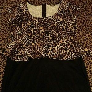 Dresses & Skirts - *SOLD* Leopard with black dress XL