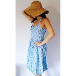 Dresses & Skirts - Bunting Banner Sky Blue Picnic Dress