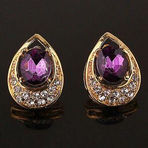 Large beautiful Purple Drop Earrings