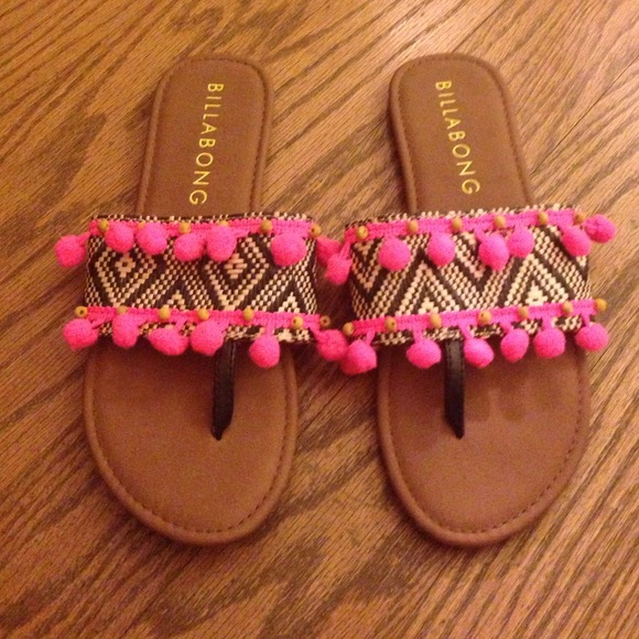 28e4d366926d Billabong Shoes - Pom pom slide on sandals