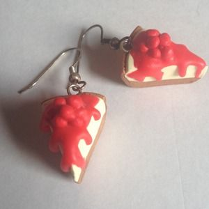 Handmade fimo cherry cheesecake earrings