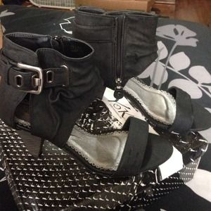 Shoes - Black gladiator heels with buckle. Never worn.