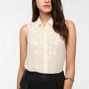 Reformed Tops - Reformed floral embroidery chiffon blouse