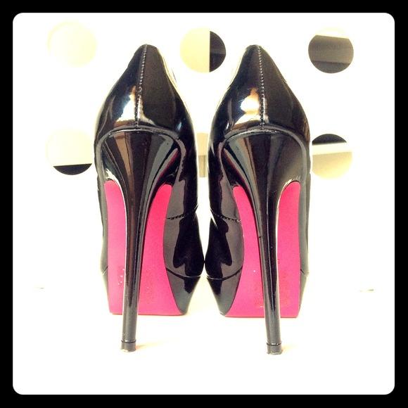 53 Off Shoe Dazzle Shoes Black Patent Pink Sole