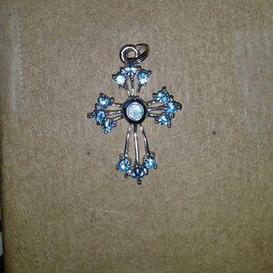 Jewelry - Small sterling silver cross. Aquamarine?