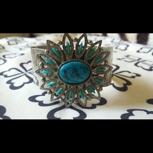 Jewelry - Silver and turquoise big statement Bangle