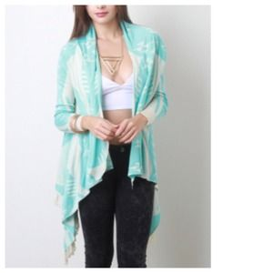 Mint Cream Tribal Fringe Cardigan