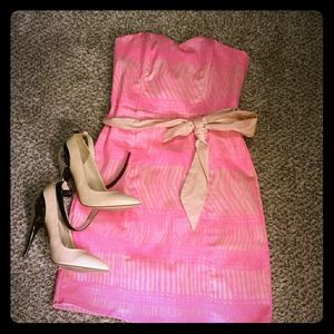 Hott bright pink & tan print strapless dress