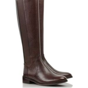 Tory Burch Christy Riding Leather Boots Coconut