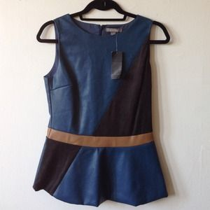 Tiney Road Tops - Faux leather blue, tan and black peplum top.