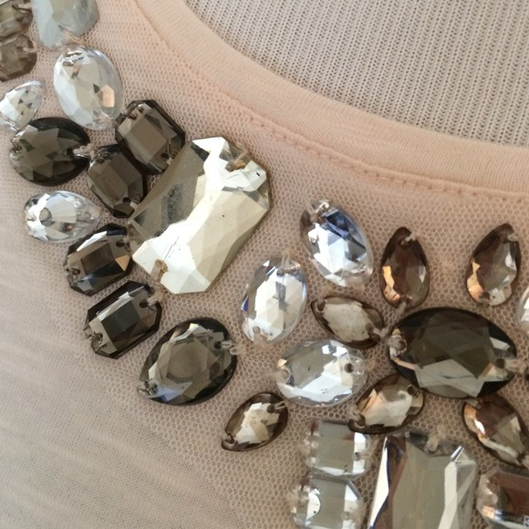 LOFT Tops - 🆕slim fit, crystal embellished tee. LOFT sz XS!