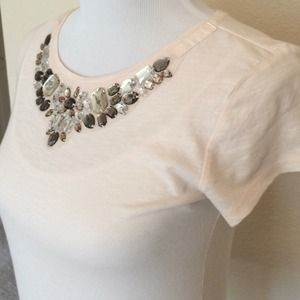 LOFT Tops - 🆕slim fit, crystal embellished tee. LOFT sz XS!