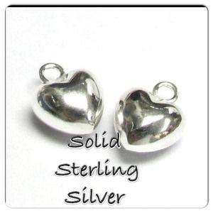 Jewelry - 2 X Ster Silver Love Puff Heart Charms must bundle