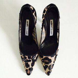 Manolo Blahnik Shoes - Manolo Blahnik leopard sequin mesh pumps size 5/6