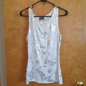 """Dots Tops - Silver & white """"paint strokes"""" designed top."""