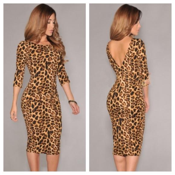 Dresses & Skirts - 💛Leopard Print Low V Back Midi Dress💛