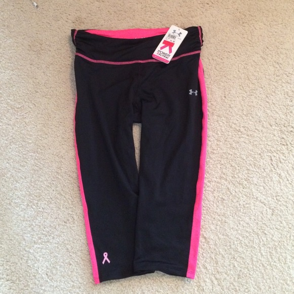 under armour breast cancer. under armour pants - black with pink for breast cancer ua running