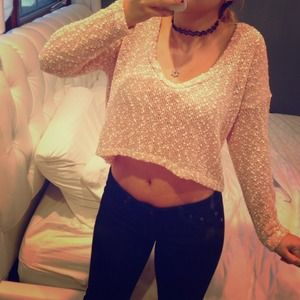 Sparkle & Fade Crop Sweater