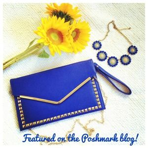 Bags - 🎉HPx2!!!!!🎉NWT Cobalt Blue Studded Clutch Purse
